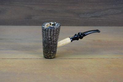 Dark Stain Coated Freehand Corn Cob Pipe w/ Bent Bit