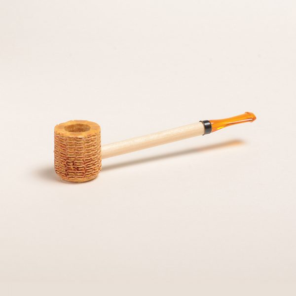 Short Stop Corn Cob Pipe w/ Amber Bit